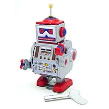 Classic Vintage Clockwork Wind Up Robot Kids Children Reminiscence Tin Toys With Key-
