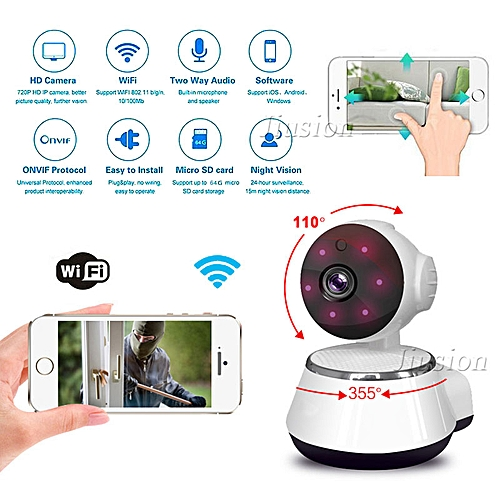Mini Camera WiFi IP Cam HD Video Audio Recorder Night Vision Motion  Detection Cloud Storage Surveillance Security Home Camcorder JUN(US Plug)(  with