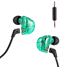 ZSR Hybrid Earphones Balanced Armature with Dynamic In-ear Earbuds - Green