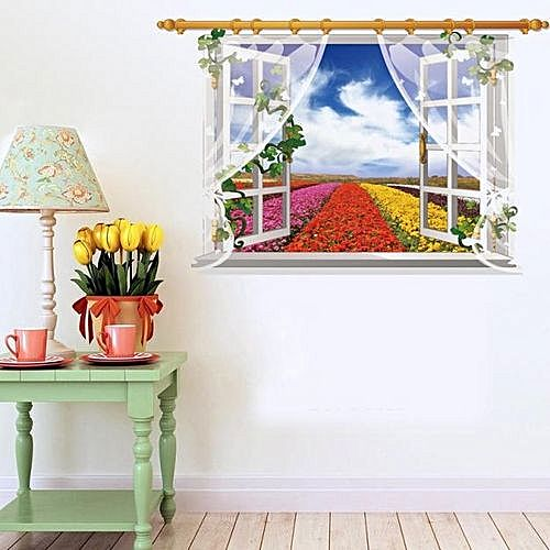 3d window view removable wall sticker art vinyl decal home decor mural landscape colorful