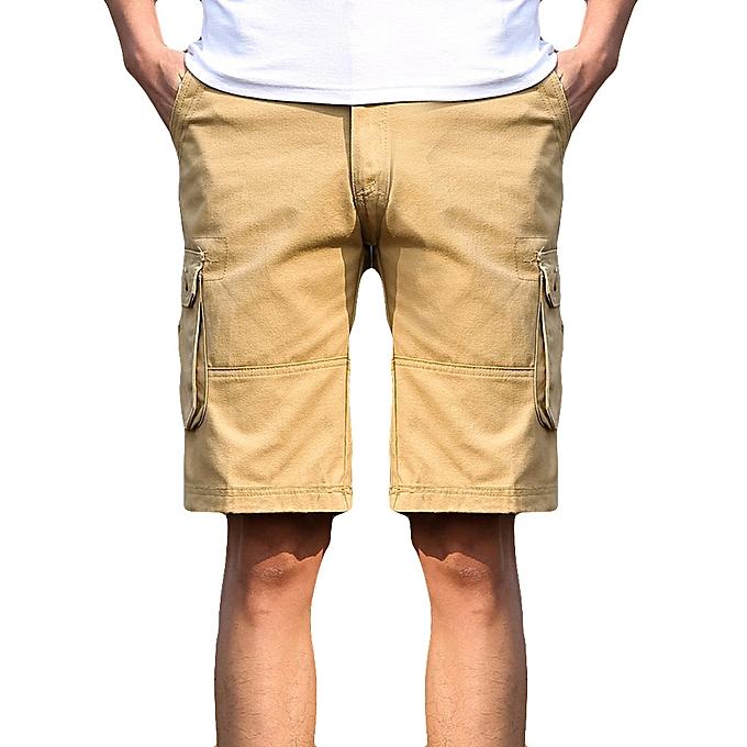 41de5d90e8 Fashion Mens Casual Pocket Beach Work Casual Short Trouser Shorts Pants- Khaki