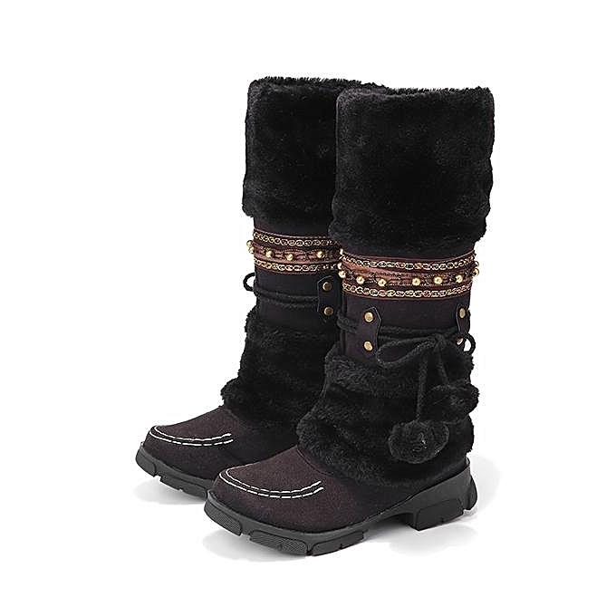 3c134561497 Fashion Women Large Size Rhinestone Slip On Mid Calf Warm Knight Winter  High Boots ...