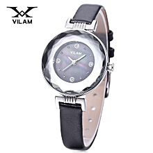 Female Quartz Watch Artificial Diamond Dial Stereo Mirror Leather Band Wristwatch-BLACK