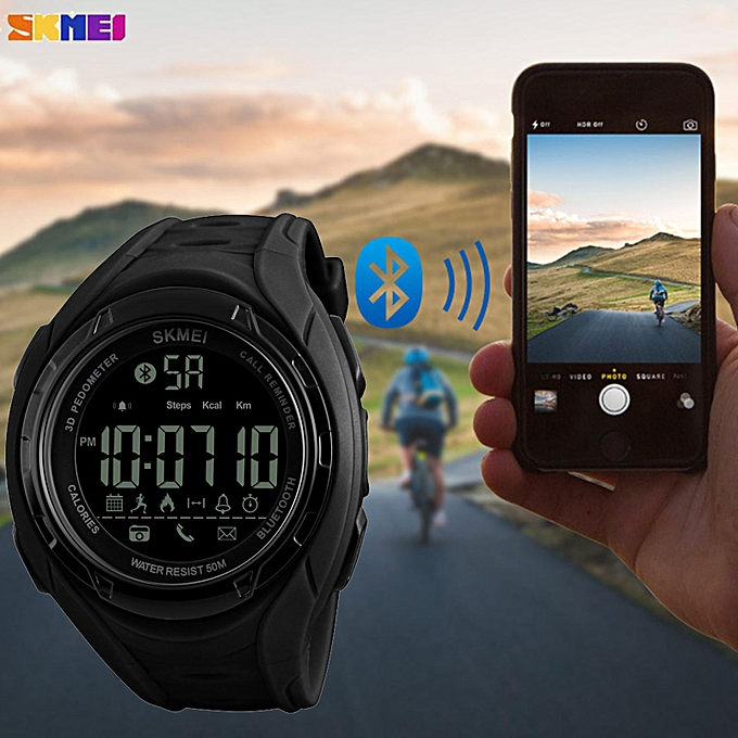 SKMEI Military Men For IOS Android Bluetooth Alarm App Call Remind  Pedometer Outdoor Sport Waterproof Wrist Watches