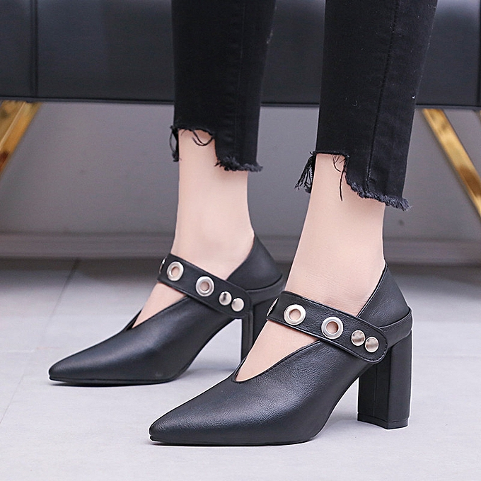 da8e9684b77 duanxinyv Vintage Womens Flats Pumps Ladies Pointed Faux Leather Thick Heel  Single Shoes Made In China