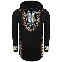 Men Long Sleeve African Dashiki Print Split Curved Hem Casual Hooded T-Shirt
