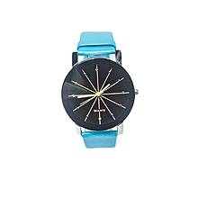 Ladies Quartz Leather Wrist Watch -Blue