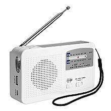Mini Emergency Solar Hand Crank Dynamo AM/FM Radio LED Flashlight USB Charger White