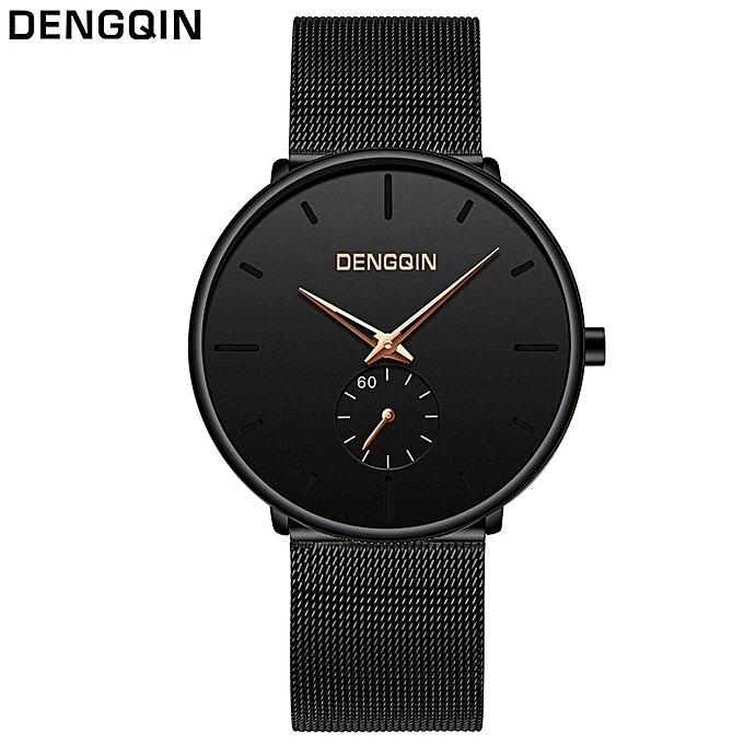 guoaivo Dengqin Luxury Women Men Stainless Steel Watch Analog Quartz Bracelet Wrist Watches -Gold