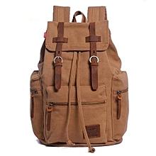 AUGUR New Fashion Men's Backpack Vintage Canvas Backpack School Bag Men's Travel Bags Large Capacity Travel Backpack Camping Bag(Tan)