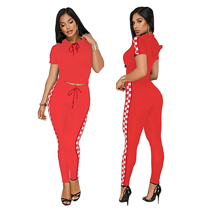 Women Crop Top and Long Pants Jumpsuits 2 Piece Outfit Tracksuits-red 010c832e4