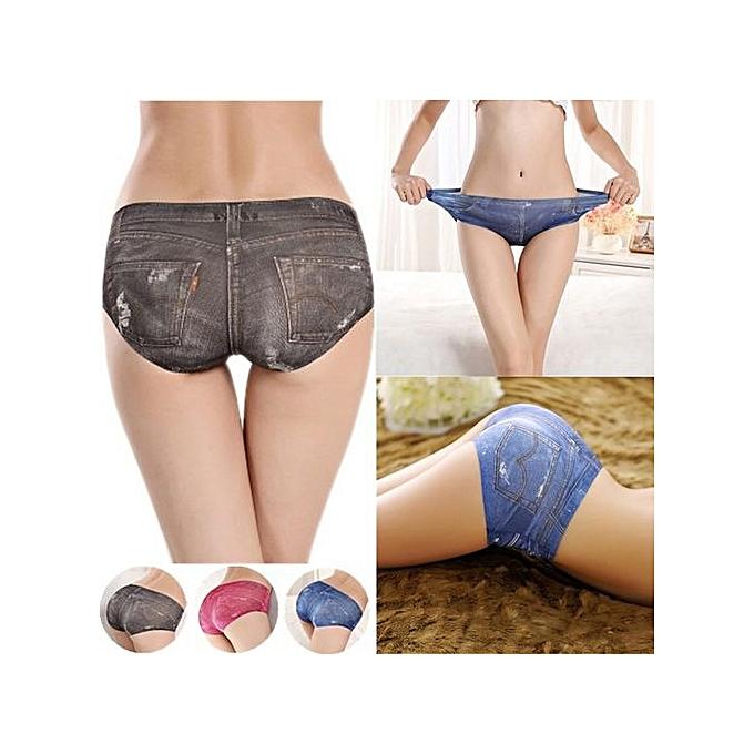 39ca490bb8f0 Women's Fashion One Piece Ice Silk Women's Briefs 3D Sexy Simulation Anti-Lugging  Denim Underwear