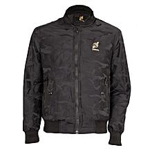 Black Bomber Jacket ( Camo Print Detail )