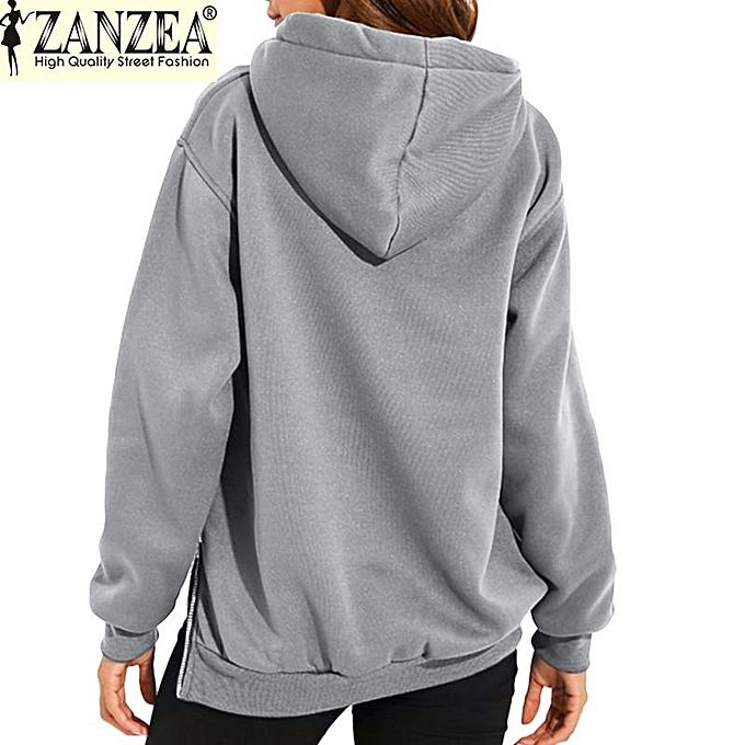 b9c04aa5d3d ... ZANZEA Trendy Women Casual Hoodies Sweatshirts Hoody Pullover Leisure  Autumn Long Sleeve Hem Split Solid Outwear ...