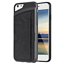 Synthetic Leather Silicone Patchwork Card Slot Soft Case Cover For 4.7inch Apple iPhone6-Black