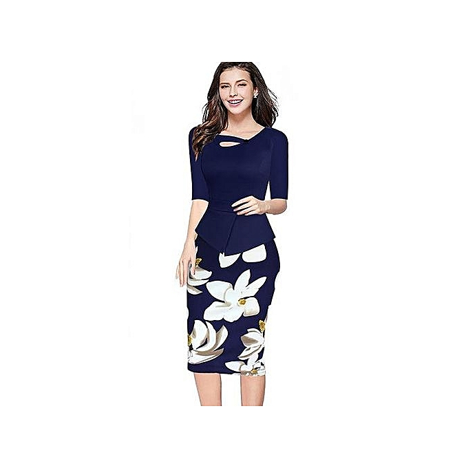 ec91adc59fe VEEKLE Women Summer Autumn Casual Bodycon Party Floral Print Red Pink Peplum  Pencil Office Dress Work