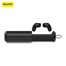 Awei T5 TWS Twins True Wireless Bluetooth V5.0 Earbuds with Charging Base - BLACK