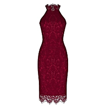 Women Full Floral Eyelash Lace Bodycon Dress - Red