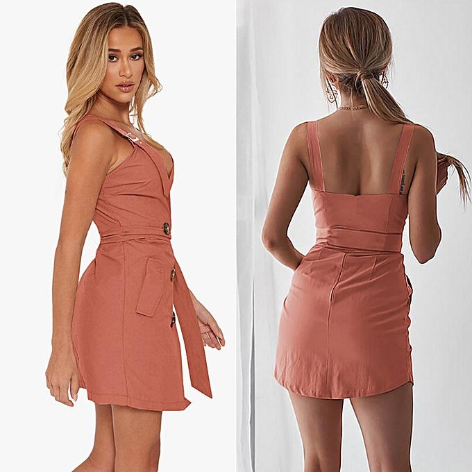 27f7435cc3 Sexy Women Deep V Neck Dress Tied High Waist Sleeveless Buttons Pockets  Asymmetric Mini Dress