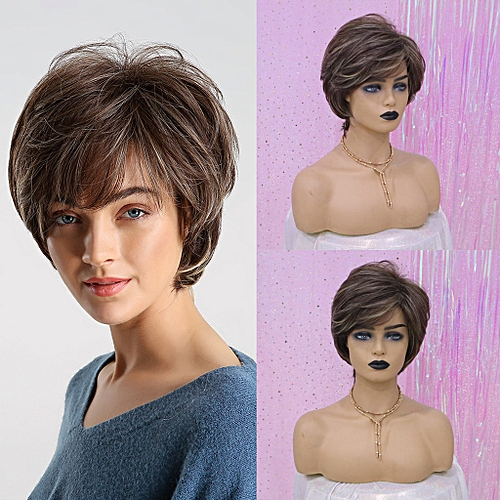 be1f5e83805 New Natural Short Curly Hair Synthetic Wig Fashion Wavy Heat Resistant  Wigs+Cap