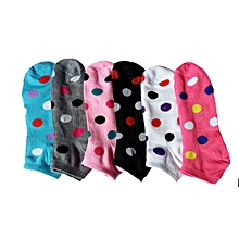 6 Pairs - Happy Ankle Socks- Dotted Colour