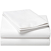 Plain White Cotton Fitted Bedsheets with 4 Pillow Cases