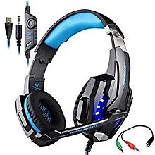 Headphone Gaming, G9000 Gaming Headphone 3.5mm & USB 7.1 Surround Sound Headphone(Black Blue)