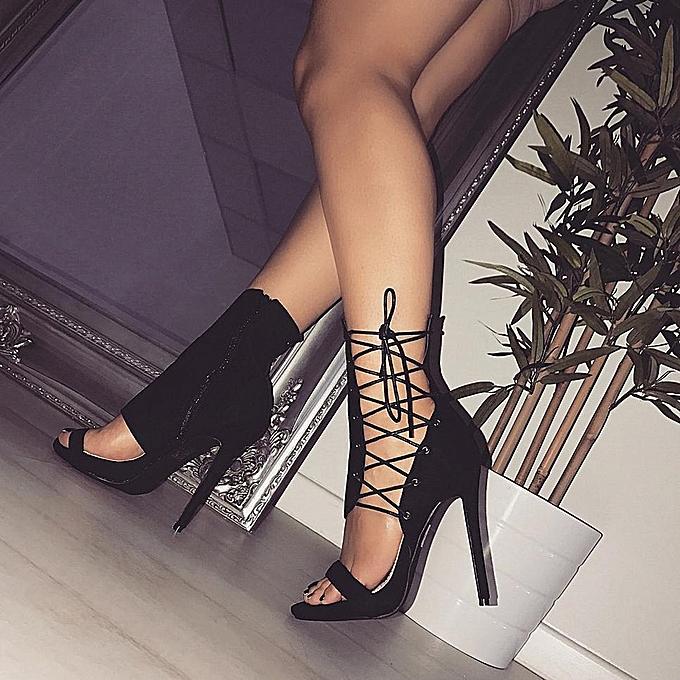 89ae72d9e3ec Roman Buckle Strap Shoes Women Sandals Sexy Sandals High Heels Woman Ankle  Boots