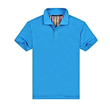 New Summer Fashion Casual Men's Short Sleeves Polo Shirts-Blue