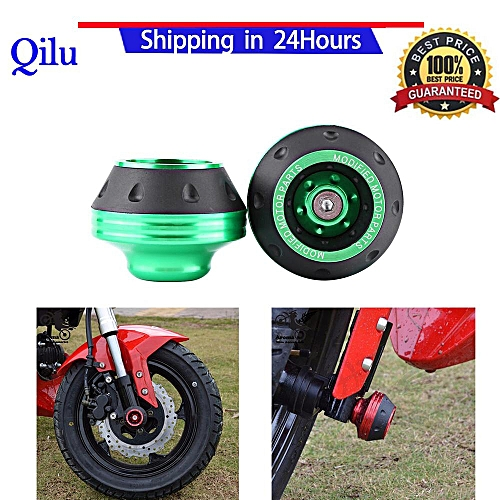 CNC Aluminum Front Fork Wheel Frame Sliders Motorbike Falling Protection  Scooter Moped (Green)