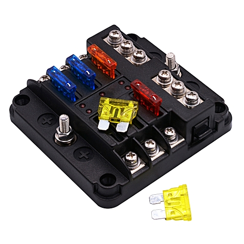 generic independent positive and negative 1 in 6 out 6 way circuit blade fuse  box fuse holder kits with led warning indicator for auto car truck boat