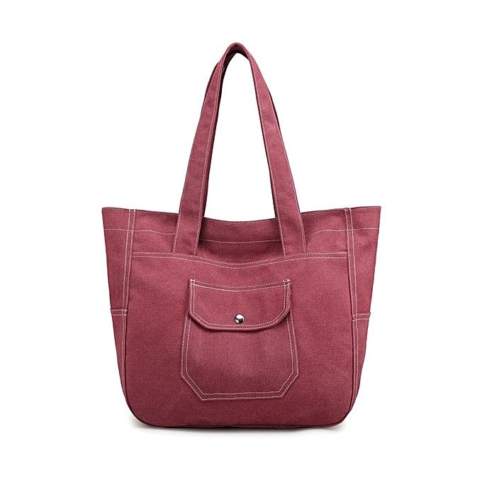 Buy Fashion Kvky Women Canvas Tote Handbags Vintage Front Pockets