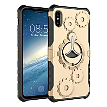 Gears Pattern Case for iPhone XS Max, with Holder & Armlet(Gold)