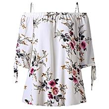 Plus Size Floral Cold Shoulder Blouse-WHITE