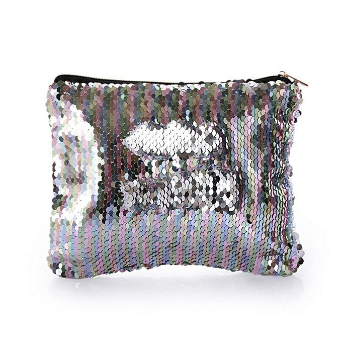 efcd86dad870 Women Fashion Reversible Sequins Glitter Cosmetic Bag Girl Cute Plush Ball  Makeup Clutch Zipper Handbags Lady's Travel Organizer(C-No Plush Ball)