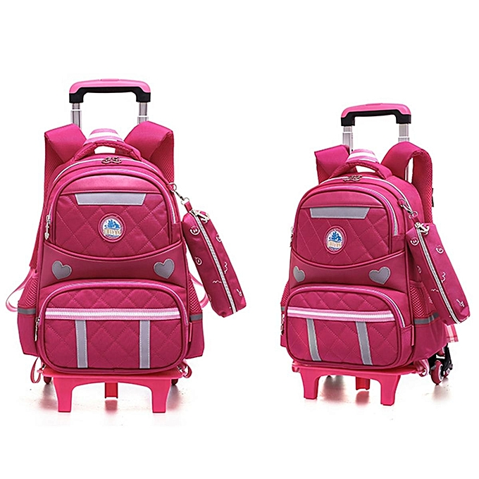 8c14ba11d4b3 Kids Girls Boys Children Wheels Trolley Backpack Bag School Luggage Book  Bags  six wheel
