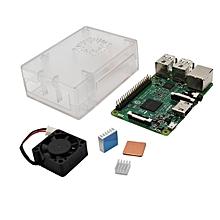 4 In 1 Raspberry Pi 3 Model B + Transparent ABS Case + Aluminum Copper Heat Sink + Cooling Fan Kit