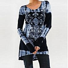 Elegant Womens Rock Style African Print Shirt Long Sleeve Top High Low Hem Tunics Blouse-blue
