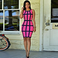 Fohting Sexy Women Dress Bandage Cocktail Sleeveless Bodycon Evening Party Dresses HOT M -Hot Pink