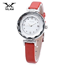 Female Quartz Watch Artificial Diamond Dial Stereo Mirror Leather Band Wristwatch-RED