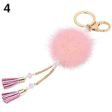 1Pc Fur Ball Tassels Car Pendant Keychain (Pink)