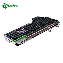 PK-900 Mechanical Keyboard 104 Keys Backlit Gaming Keyboard with Phone Holder-light gray
