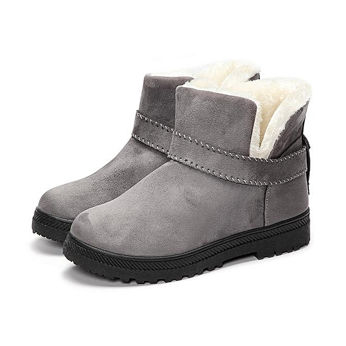 1a6d6d4fee6fa Fur Lining Snow Ankle Boots Round Toe Soft Warmer Short Boots Slip On Thick  Flat Casual