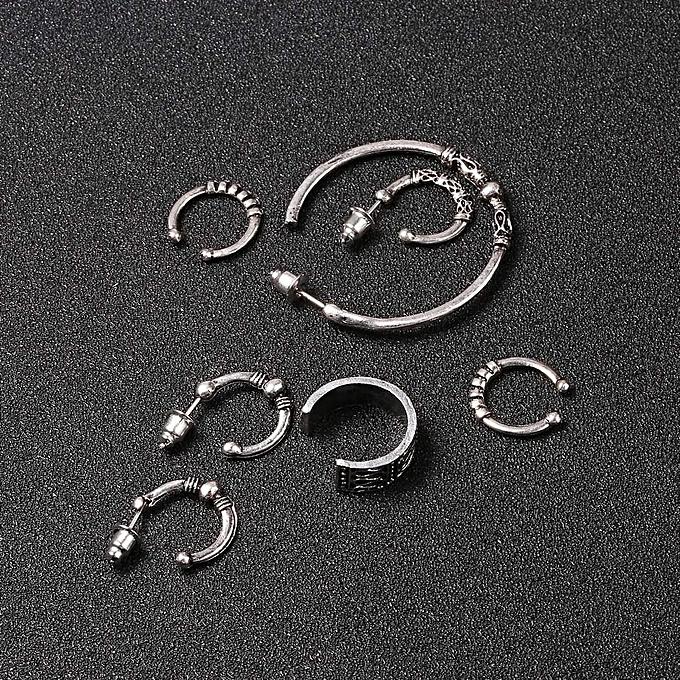 Women Unique Statement Vintage Style Punk Tibetan Silver Hoop Clip Earrings Set Array