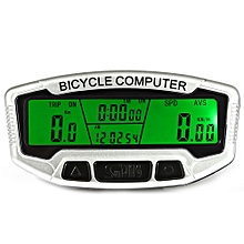 SD - 558C Wireless Bicycle Computer Water Resistant Cycling Odometer Speedometer With LCD Backlight - White