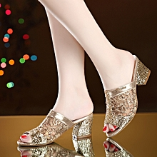 Women's Shoes Sexy Peep-Toe Rhinestone Ladies Sandal Slippers Open-Toe - Gold