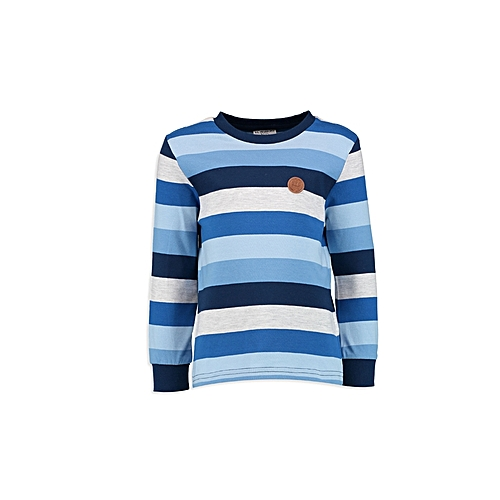 Blue Fashionable Striped Regular Crew Neck T-Shirt