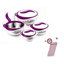 Set of 4 Pinnacle Parisa Hot Pot Serving Bowls + FREE Kitchen Cloth - Print Purple