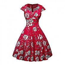 Vintage Woman Skull Print Dress - Red Multicoloured