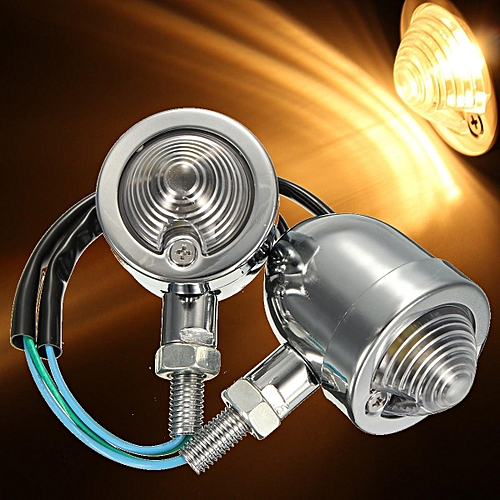 2 x Silver Metal Universal Motorcycle Bullet Turn Signal Indicator Amber  Light Yoopar